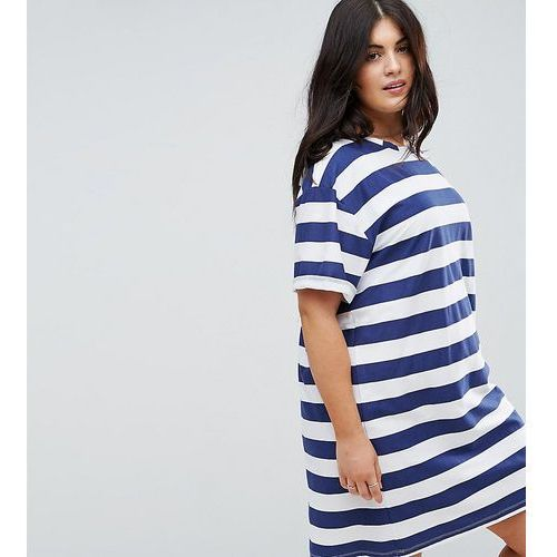 Asos curve ultimate t-shirt dress with rolled sleeves in stripe - multi