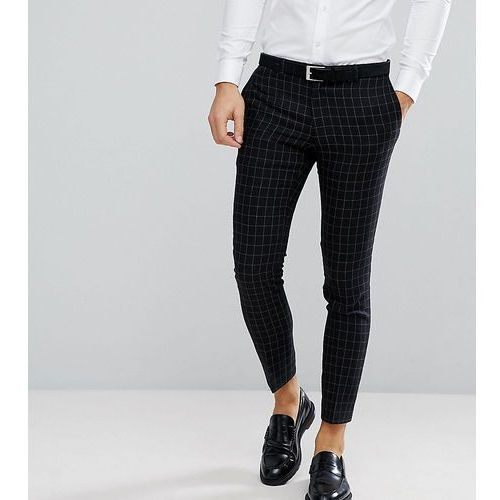 Noak Skinny Wedding Suit Trouser In Grid Check - Black