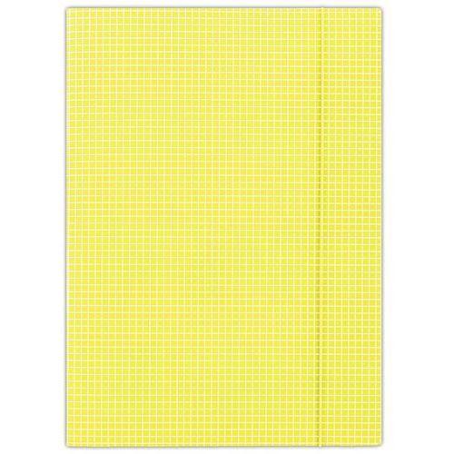 Donau Teczka z gumką , karton, a4, 400gsm, 3-skrz., żółta w kratę (5901498052494)