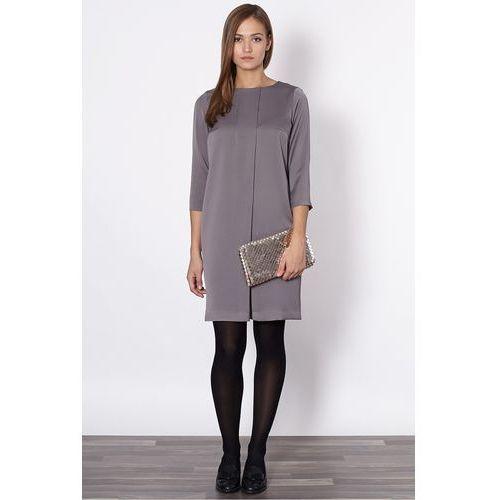Click fashion Szara sukienka z zakładką -