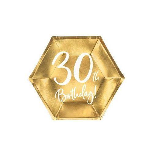 Party deco Talerzyki na trzydzieste urodziny złote - 20 cm - 6 szt. (5900779118508)