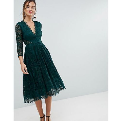 ASOS Long Sleeve Lace Midi Prom Dress - Green, kolor zielony