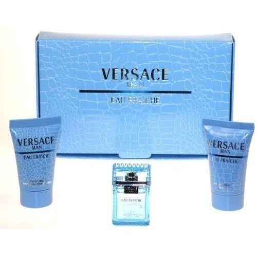 Versace Man Eau Fraiche M Zestaw perfum Edt 5ml + 25ml Żel pod prysznic + 25ml balsam po goleniu (8018365500204)