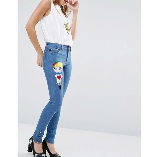skinny jeans with felt doll patch - blue marki Love moschino