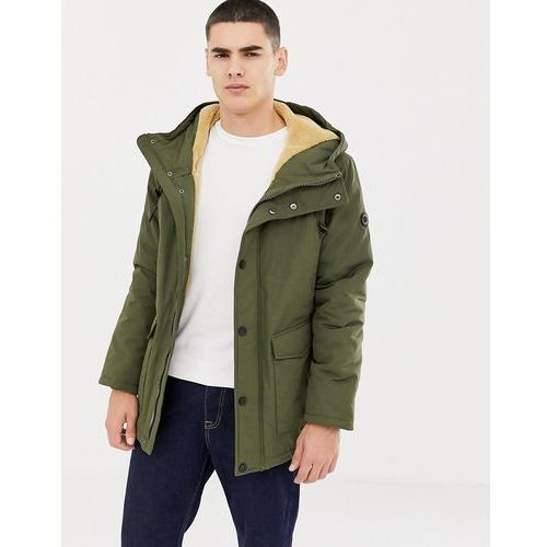 Esprit hooded parka with teddy lining in light khaki - Green