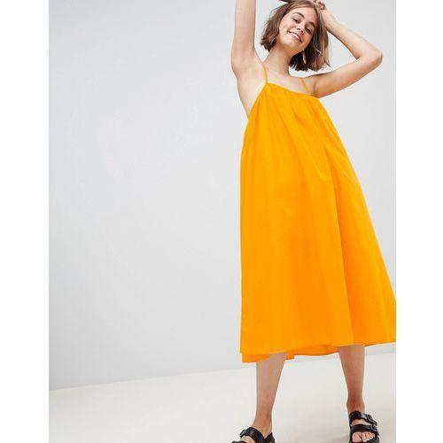 trapeze midi cami dress in yellow - yellow, Monki, 38-40