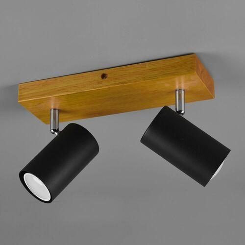 Trio Marley 812400232 plafon lampa sufitowa 2x35W GU10 czarny mat/drewno