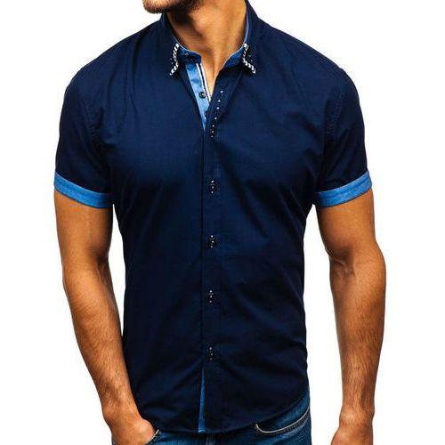 Koszula męska z krótkim rękawem granatowa Bolf 2911-1, kolor niebieski