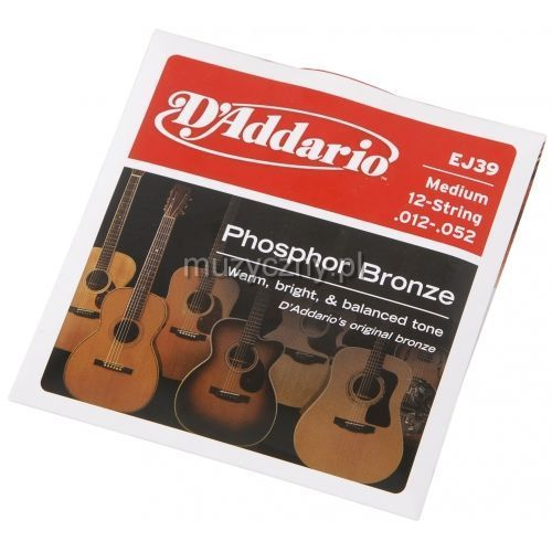 D′Addario EJ39 struny do gitary akustycznej 12-strunowej Phosphor Bronze, Medium, 12-52