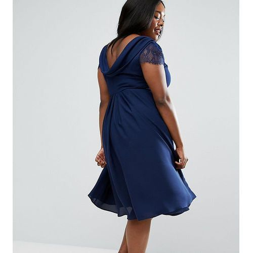 kate lace cowl back midi dress - navy, Asos curve