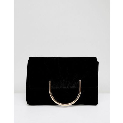 French connection clutch bag with hardware - black