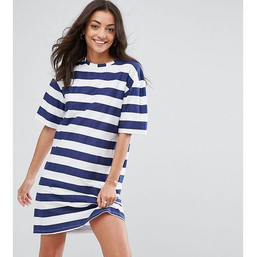 Asos tall ultimate t-shirt dress with rolled sleeves in stripe - multi