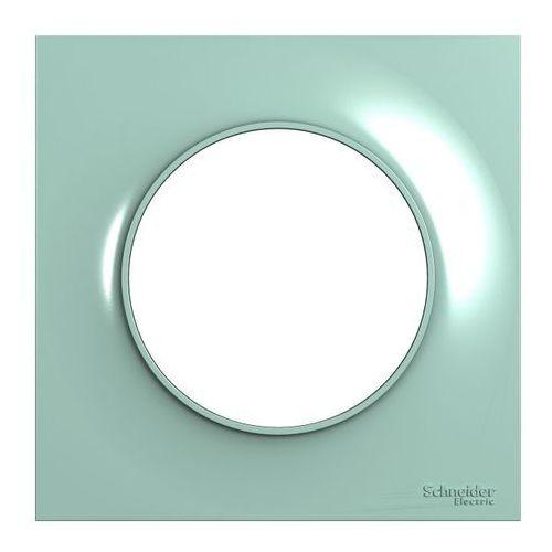 Ramka pojedyncza Schneider Electric Odace cyjan, kolor zielony
