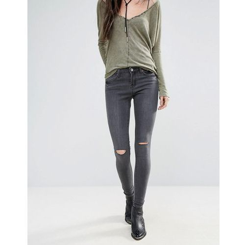 Brave Soul Vintage Wash Skinny Jeans with Knee Rips - Grey, kolor szary