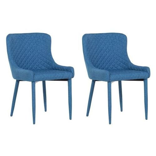 Beliani Zestaw do jadalni 2 krzesła ciemnoniebieskie solano (4260602370604)