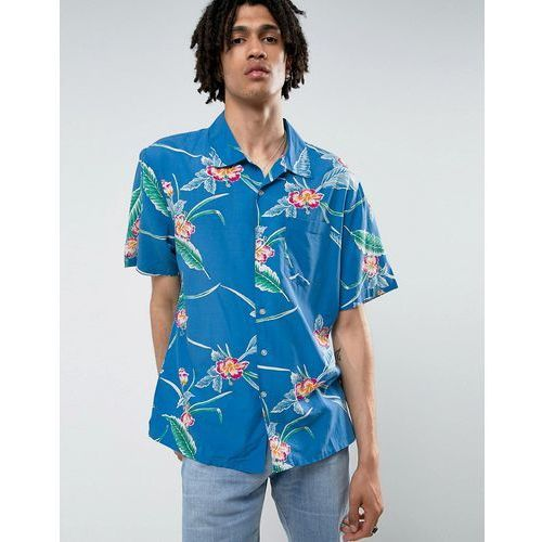 Brixton relaxed fit shirt in blue floral print - blue
