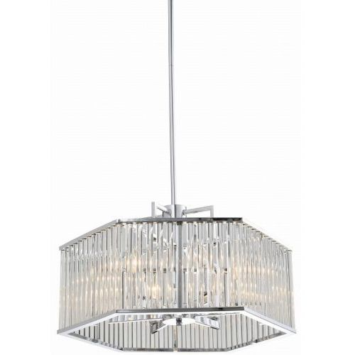 LAMPA wisząca EVO P06384CH metalowa OPRAWA geometryczny ZWIS szklane rurki nikiel, EVO P06384CH