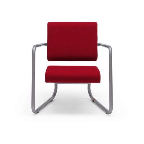Lonc steeler, fotel facet, filc wełniany, czerwony, rama srebrna, indoor p 055 1003 (8719747653272)