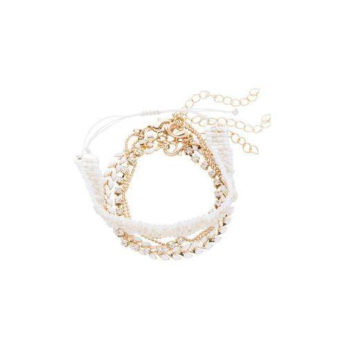 Komplet 4 bransoletek złoty kolor- biały marki Bonprix