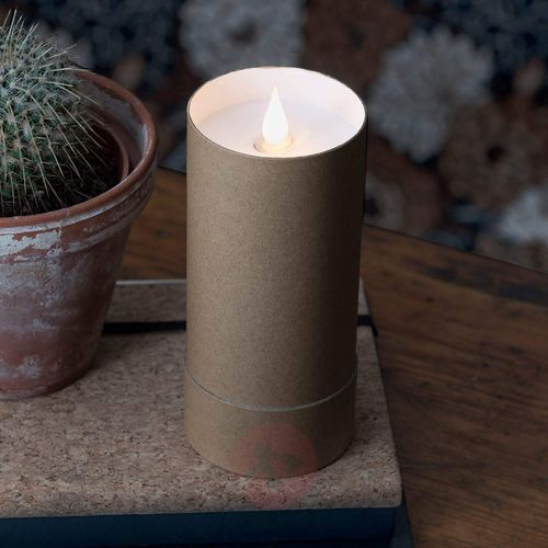 Świeca LED w cylindrze, płomień 3D, brązowy (7318308806051)