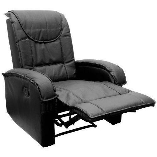 Czarny fotel wypoczynkowy relaksacyjny + podnóżek - czarny marki Makstor.pl