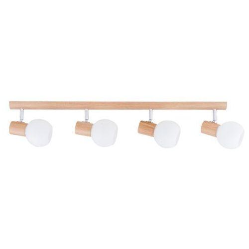 Listwa lampa oprawa sufitowa Spot Light Karin 4x40W E14 dąb/chrom/biały 2231470, kolor Biały