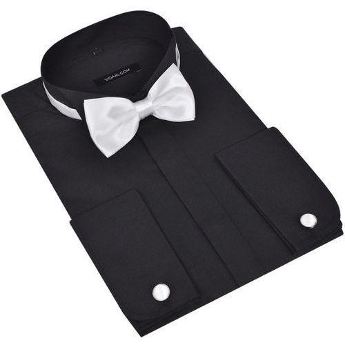 Męska koszula smokingowa ze spinkami do mankietów i muszka S czarna, kolor brązowy