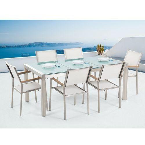 Beliani Zestaw ogrodowy szklany blat 180 cm 6-osobowy białe krzesła grosseto (4251682205399)