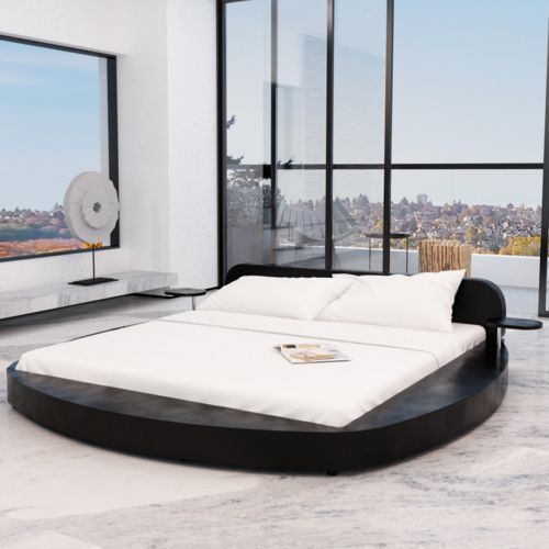 vidaXL Czarne okrągłe łóżko ze sztucznej skóry z dwoma stolikami 180 x 200 cm (8718475891291)