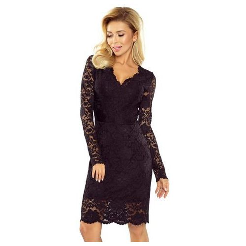 Czarna Koronkowa Sukienka Koktajlowa, kolor czarny