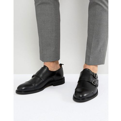 leather double monk shoes - black, Selected homme