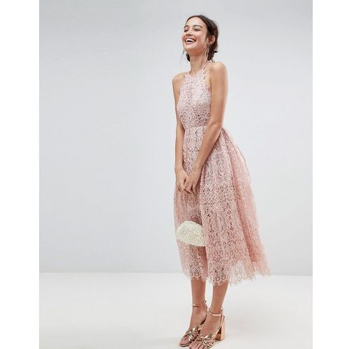 Asos lace pinny scallop edge midi prom dress - pink marki Asos design