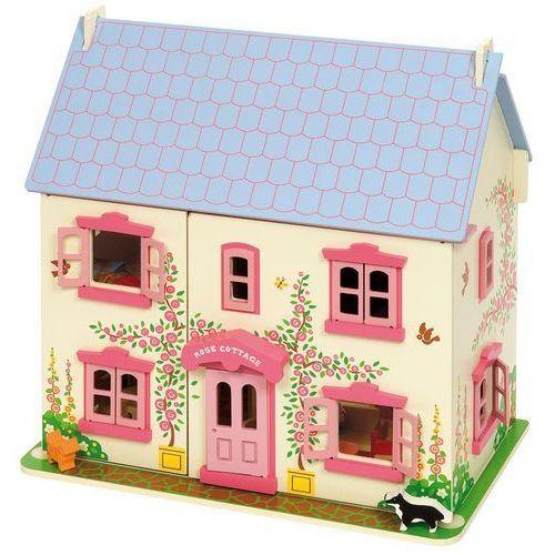 Bigjigs Toys Drewniany domek dla lalek różowy