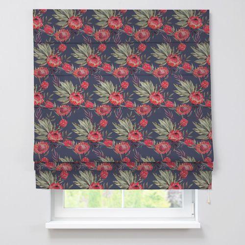 Dekoria roleta rzymska padva, czerwone kwiaty na czarnym tle, szer.130 × dł.170 cm, new art