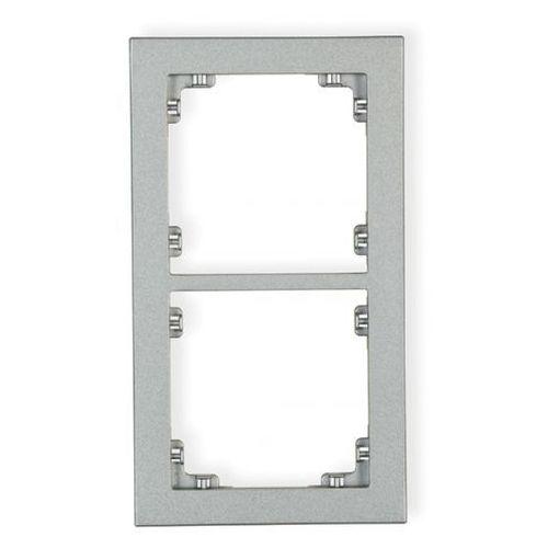 Ramka uniwersalna podwójna DECO Karlik srebrny metalik 7DR-2, kolor srebrny