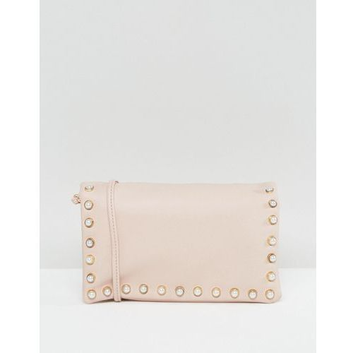 leather look pearl cross body bag - beige marki New look