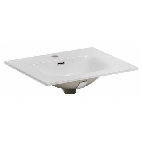 Biała prostokątna umywalka ceramiczna - Priva 60 cm