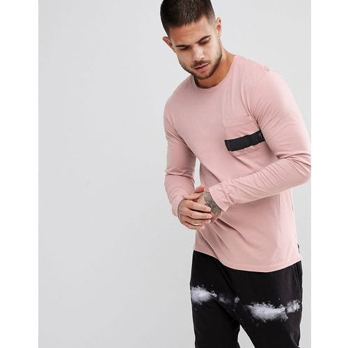 Religion Long Sleeve Stepped Hem T-Shirt With Printed Pocket - Pink, w 3 rozmiarach