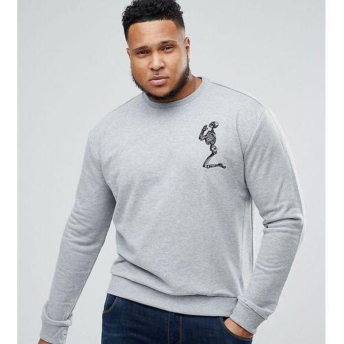 plus sweatshirt in grey with large skeleton logo - grey marki Religion