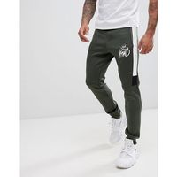 mert joggers in khaki with contrast panels - green marki Kings will dream