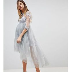 Chi Chi London Maternity High Neck Tulle Midi Skater Dress With Lace Sleeves and High Low Hem - Grey