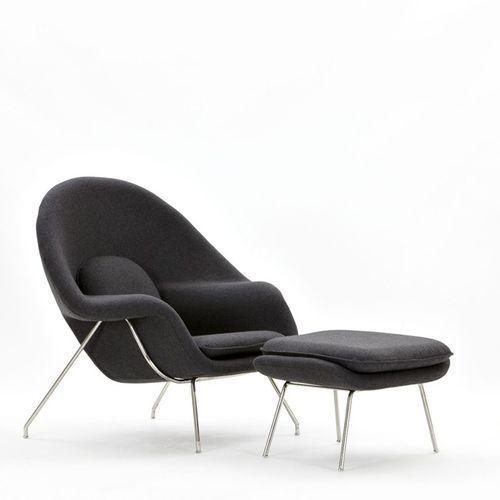 D2.design Fotel snug z podnóżkiem inspirowany womb chair - szary (5902385714631)