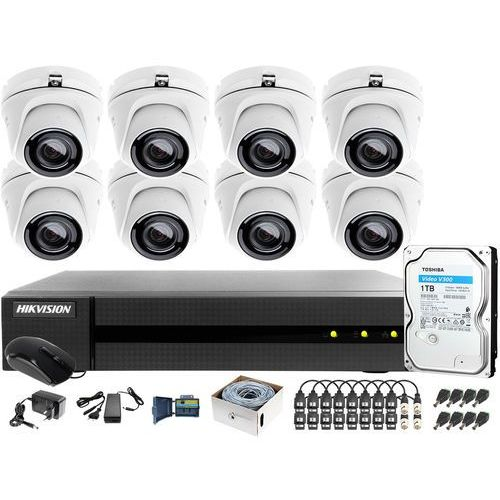 Zestaw monitoringu po utp skrętce 4mpx hwd-6116mh-g2 8 x hwt-t140-m 1tb samodzielny montaż marki Hikvision hiwatch