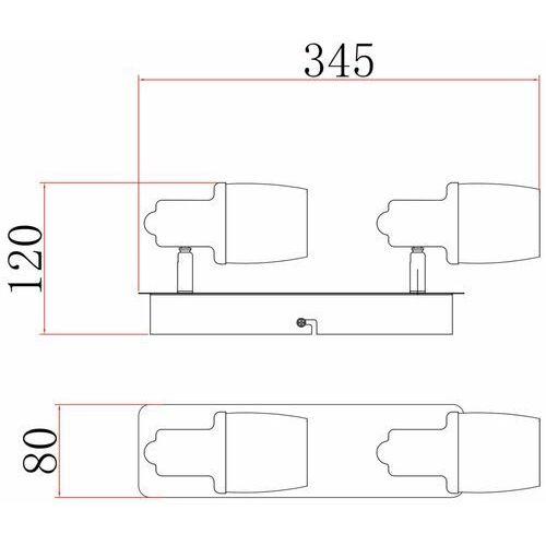poso ck180610-2 listwa lampa sufitowa spot 2x40w e14 srebrny/biały marki Zuma line