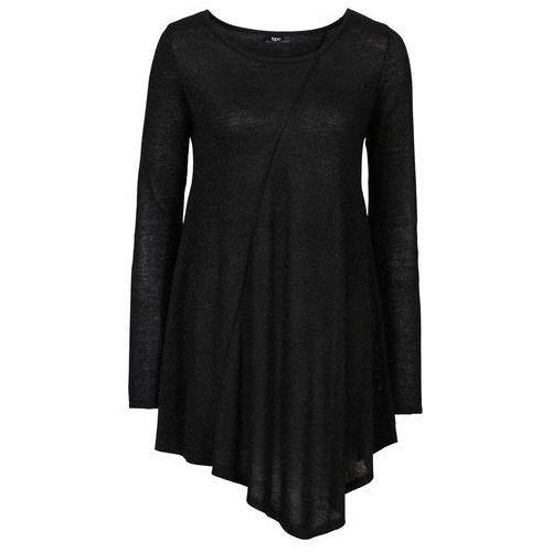 Bonprix Sweter z błyszczącą nitką, długi rękaw  czarny - metaliczny srebrny