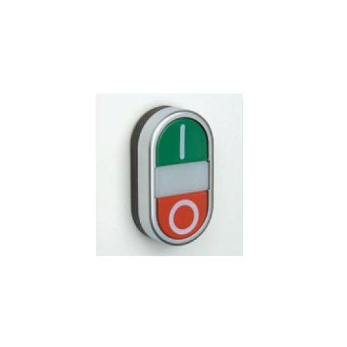 Przycisk podwójny chromowany płaski podświetlany, zielony I, czerwony O PPDLRCL