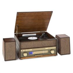 Auna epoque 1909 system audio w stylu retro gramofon odtwarzacz kasetowy bluetooth usb cd aux