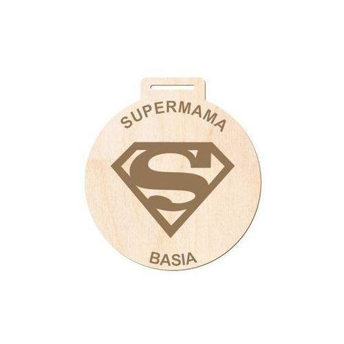 Drewniana dekoracja zawieszka personalizowana Super Mama - 1 szt.