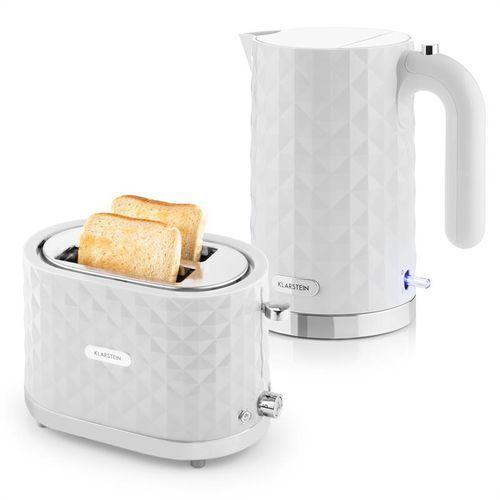 granada bianca zestaw śniadaniowy  czajnik elektryczny 2000 w toster 1000 w   kolor biały marki Klarstein