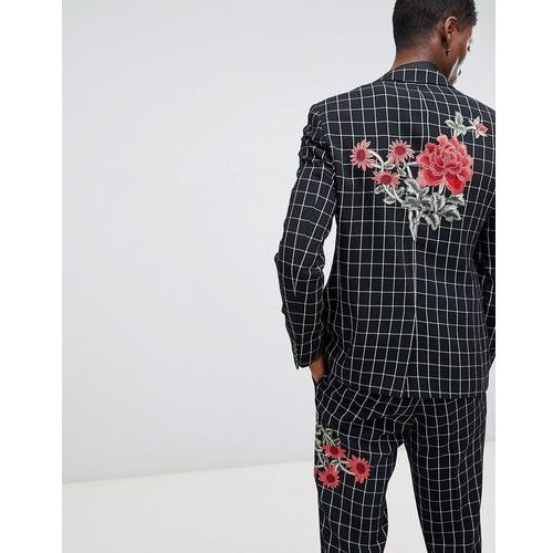 skinny suit jacket in black and white check with embroidery - black marki Asos design